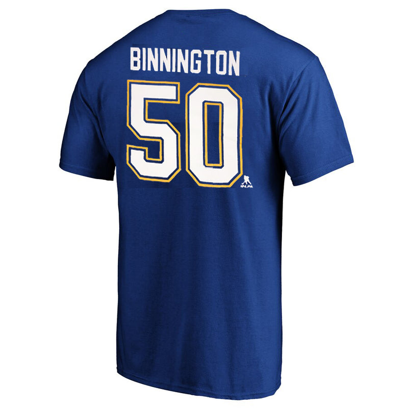 St. Louis Blues Outerstuff Kids Stanley Cup Final Champions Jordan Binnington #50 Player Name & Number Tee - Royal - STL Authentics