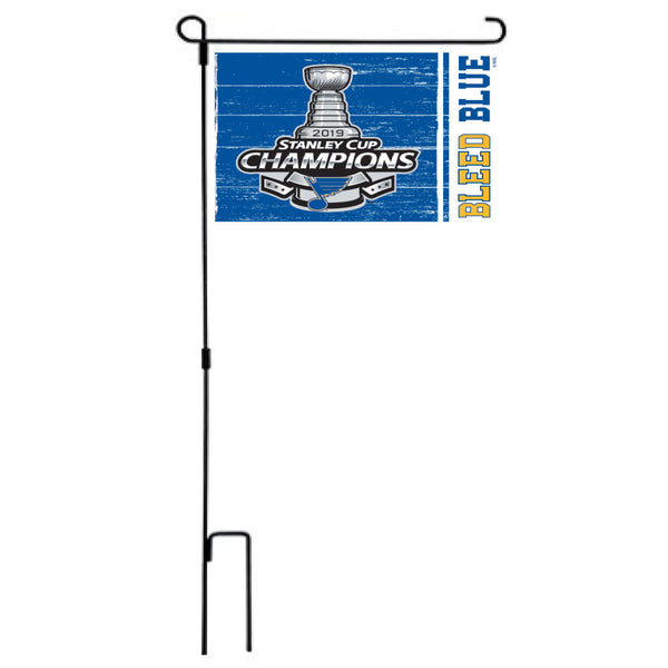 St. Louis Blues Authentic Street Signs 2019 Stanley Cup Champions Steel Garden Flag - STL Authentics