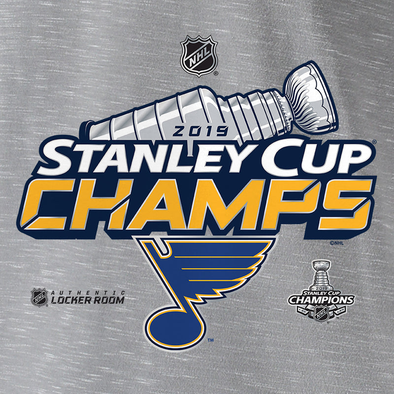 St. Louis Blues Fanatics 2019 Stanley Cup Final Champions Authentic Locker Room Tee - Grey - STL Authentics