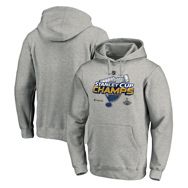 St. Louis Blues Fanatics 2019 Stanley Cup Final Champions Authentic Locker Room Hoodie - Grey | STL Authentics
