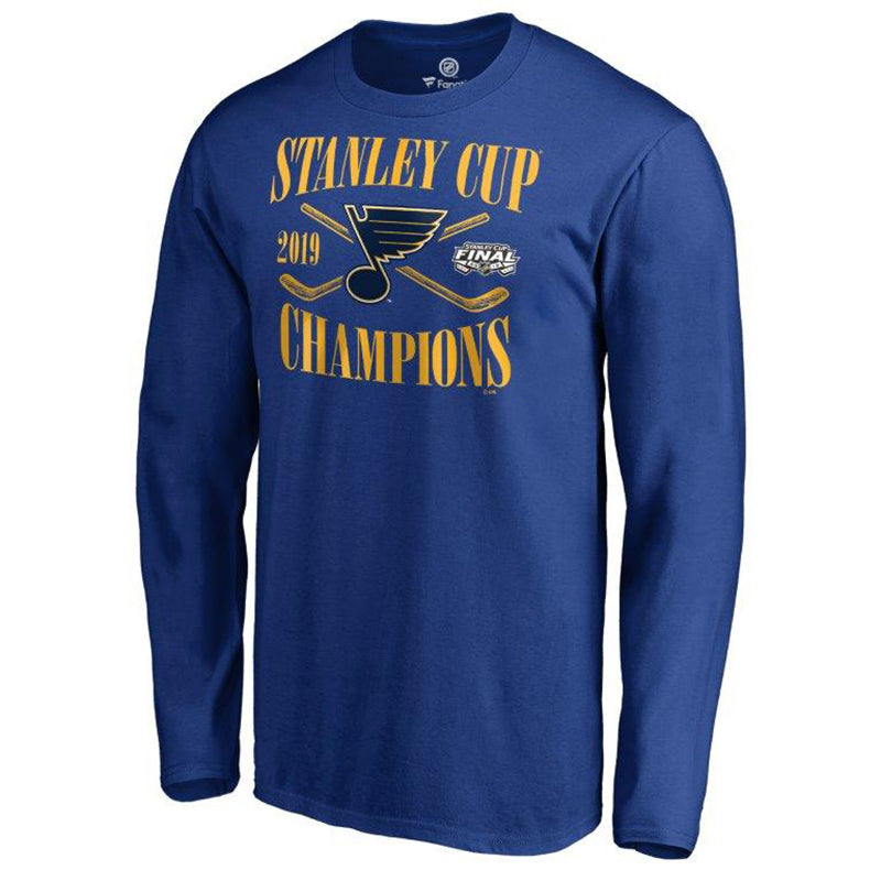 St. Louis Blues Fanatics 2019 Stanley Cup Finals Champions Hand Pass Long Sleeve Tee - Royal - STL Authentics