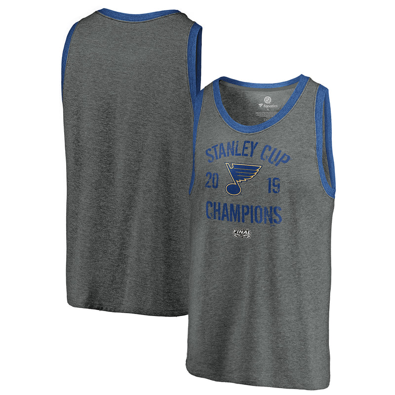 St. Louis Blues Fanatics 2019 Stanley Cup Final Champions Ice Rink Sleeveless Tri-blend Ringer Tank - Grey | STL Authentics