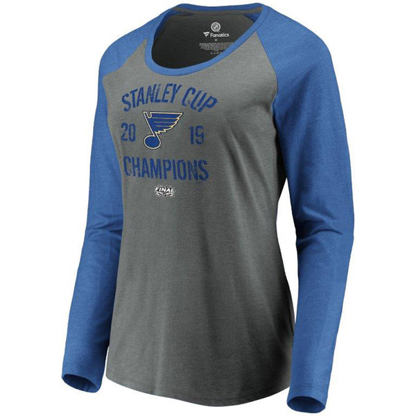 St. Louis Blues Fanatics Womens 2019 Stanley Cup Final Champions Ice Rink Long Sleeve Tri-blend Tee - Grey/Blue | STL Authentics