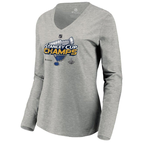 St. Louis Blues Fanatics Womens 2019 Stanley Cup Final Champions Authentic Locker Room Long Sleeve V-neck Tee - Grey - STL Authentics