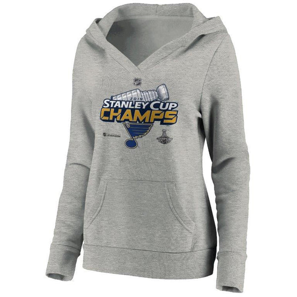 St. Louis Blues Fanatics Womens 2019 Stanley Cup Final Champions Authentic Locker Room V-neck Fleece Hoodie - Grey | STL Authentics