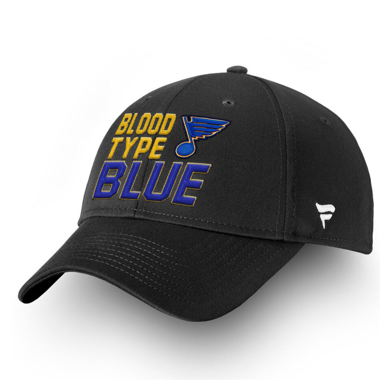 St. Louis Blues Fanatics 2019 Stanley Cup Finals Champions Blood Type Structured Adjustable Hat - Black