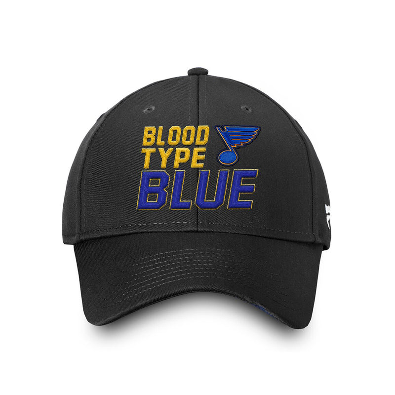St. Louis Blues Fanatics 2019 Stanley Cup Finals Champions Blood Type Structured Adjustable Hat - Black - STL Authentics