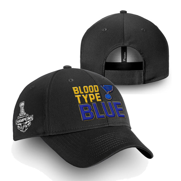 St. Louis Blues Fanatics 2019 Stanley Cup Finals Champions Blood Type Structured Adjustable Hat - Black | STL Authentics