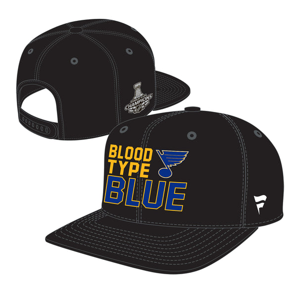 St. Louis Blues Fanatics 2019 Stanley Cup Finals Champions Blood Type Mid Crown Snapback Hat - Black | STL Authentics