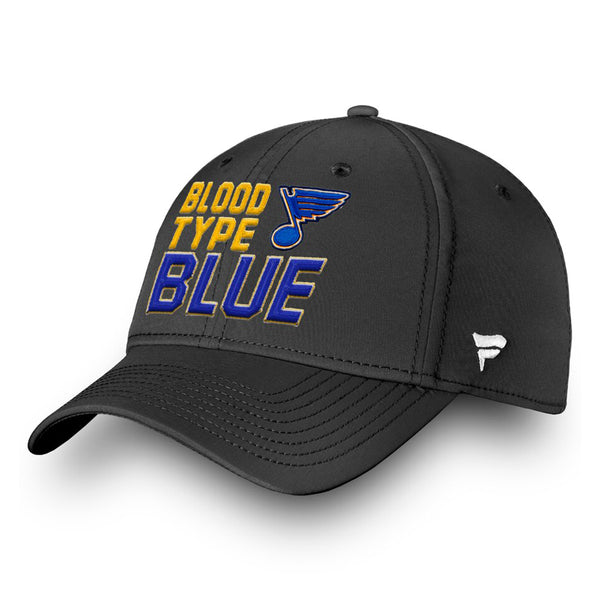 St. Louis Blues Fanatics 2019 Stanley Cup Finals Champions Blood Type Structured Stretch Hat - Black - STL Authentics