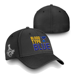 St. Louis Blues Fanatics 2019 Stanley Cup Finals Champions Blood Type Structured Stretch Hat - Black | STL Authentics