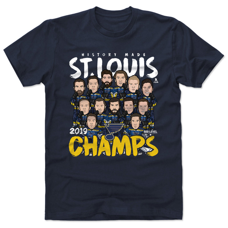 St. Louis Blues 2019 Stanley Cup Champs Team Bitmoji Tee - Navy - STL Authentics