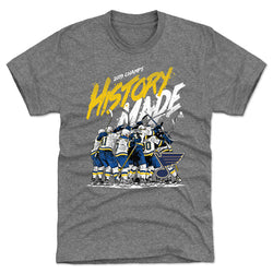 St. Louis Blues 2019 Stanley Cup Champs History Made Celebration Tee - Heather Grey | STL Authentics