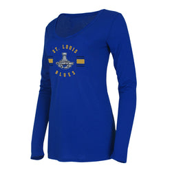 St. Louis  Blues Concepts Sport Womens 2019 Stanley Cup Champions Long Sleeve V-neck Tee - Royal | STL Authentics