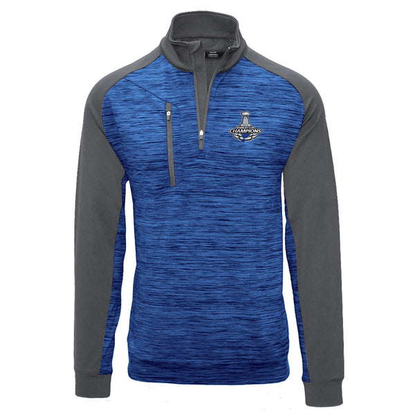 St. Louis Blues Levelwear 2019 Stanley Cup Champions Rampart 1/4 Zip Pullover - Royal/Grey | STL Authentics