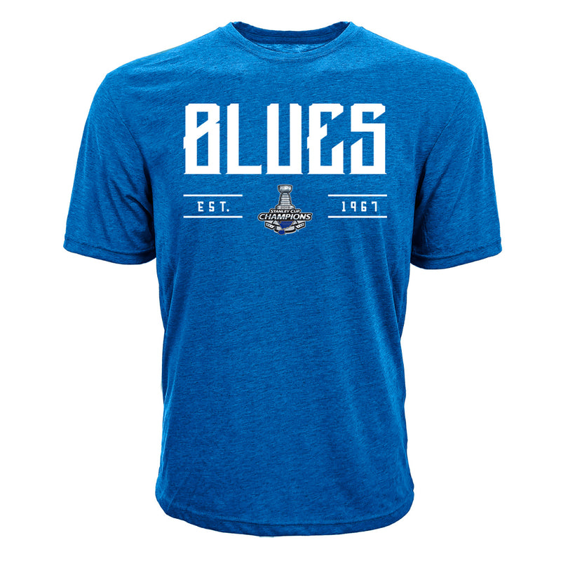 St. Louis Blues Levelwear 2019 Stanley Cup Champions Richmond Primary Tee - Royal | STL Authentics