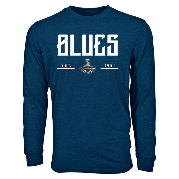 St. Louis Blues Levelwear 2019 Stanley Cup Champions Oscar Primary Long Sleeve Tee - Navy | STL Authentics