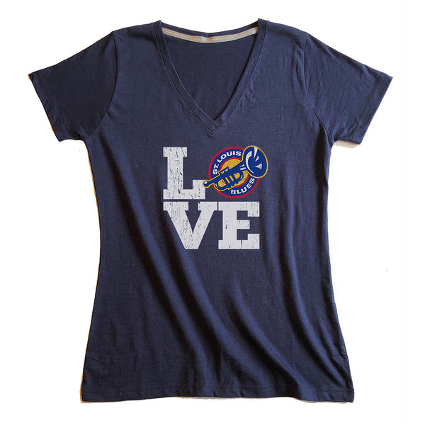 St. Louis Blues 2LU Womens Heritage Love Wild V-neck Tee - Navy - STL Authentics