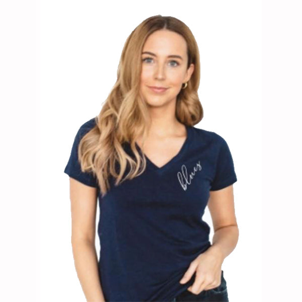 St. Louis Blues 2LU Women's Script V-neck Tee - Navy - STL Authentics