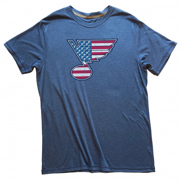 St. Louis Blues 2LU Red White & Blue Note Tee - Royal - STL Authentics