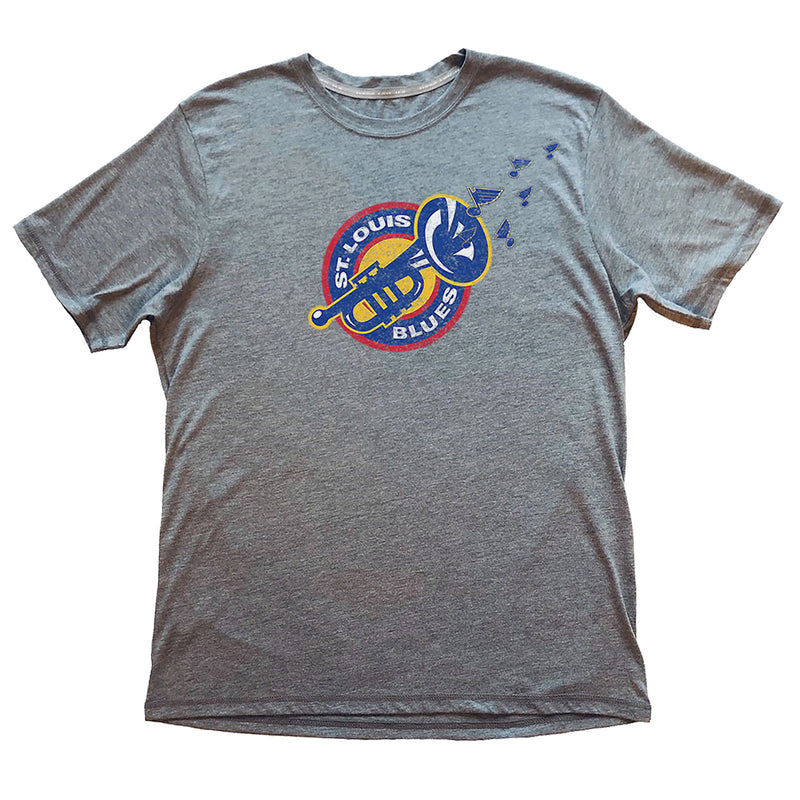St. Louis Blues 2LU Heritage Playing The Blues Tee - Grey - STL Authentics