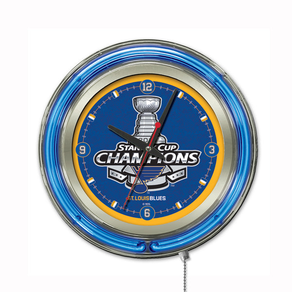 "Holland St. Louis Blues Stanley Cup Champions 15"" Neon Clock"