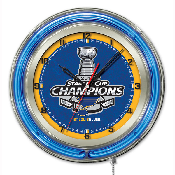 "Holland St. Louis Blues Stanley Cup Champions 19"" Neon Clock"