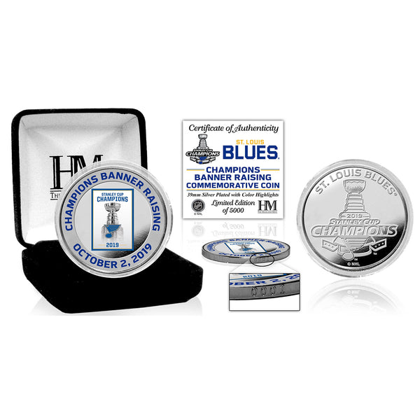 Highland Mint St. Louis Blues 2019 Stanley Cup Champions Banner Raising Silver Coin
