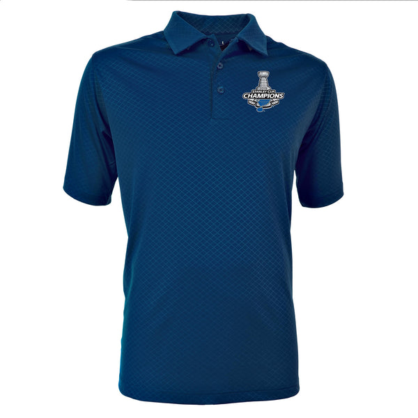 St. Louis Blues Antigua 2019 Stanley Cup Champions Inspire Polo - Navy | STL Authentics