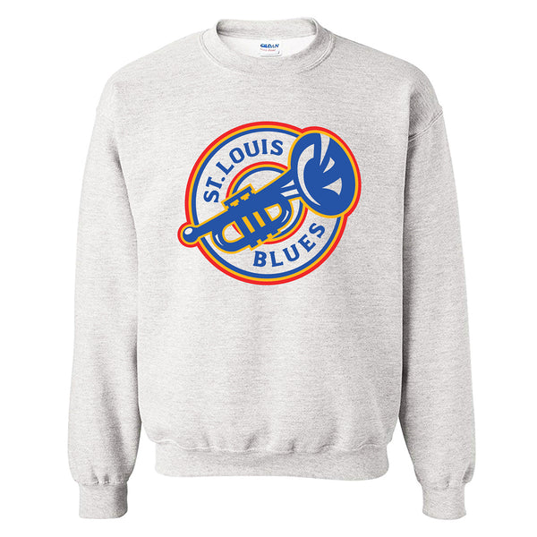 St. Louis Blues Series Six Heritage Trumpet Logo Fleece Crew - Grey