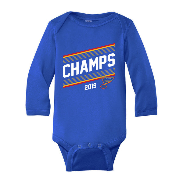 St. Louis Blues Series Six Infant Champs 2019 Long Sleeve Onesie - Royal