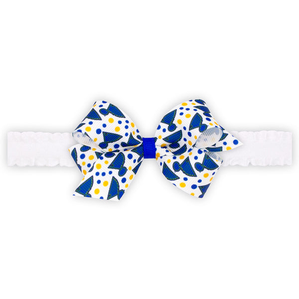 St. Louis Blues Wee Ones Mini Logo and Dot Print Bow on Soft Elastic Baby Band