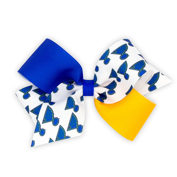 St. Louis Blues Wee Ones Logo Color Block Medium Bow