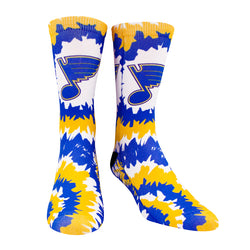 St. Louis Blues Note Tie Dye Crew Socks - STL Authentics