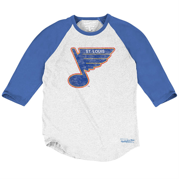 St. Louis Blues Mitchell & Ness Vintage Retro 3/4 Sleeve Raglan Tee - White/Royal