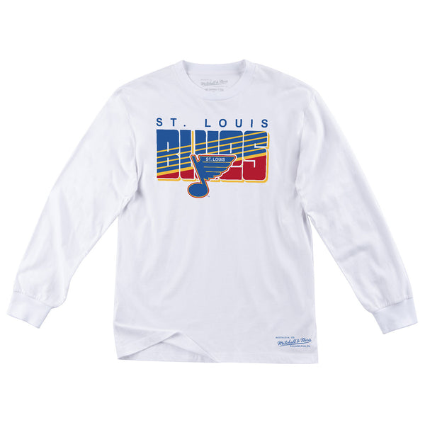 St. Louis Blues Mitchell & Ness Retro Block Striped Long Sleeve Tee - White - STL Authentics