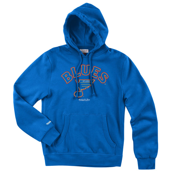 St. Louis Blues Mitchell & Ness Vintage Retro Wordmark Fleece Hoodie - Royal