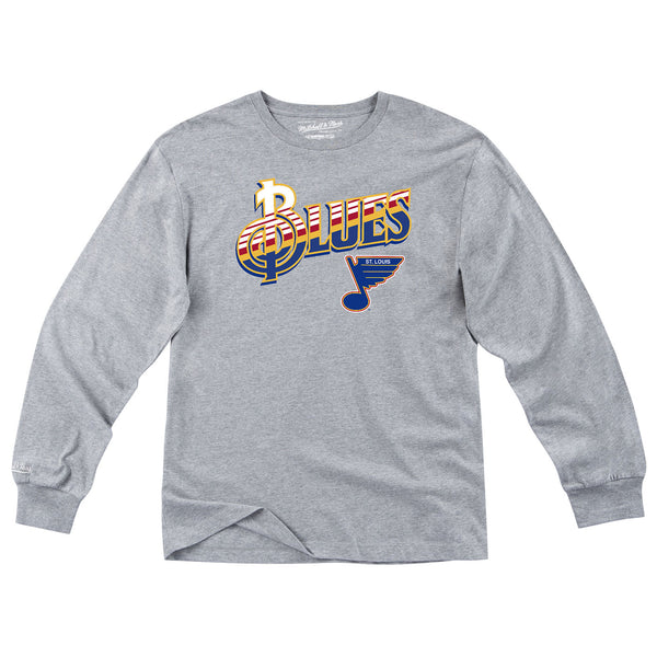 St. Louis Blues Mitchell & Ness Retro Treble Striped Fleece Crew - Grey - STL Authentics