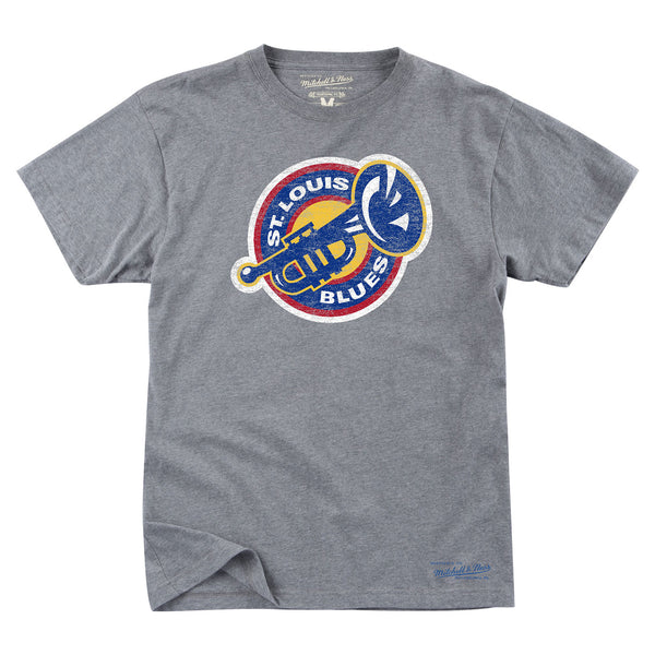 St. Louis Blues Mitchell & Ness Vintage Brass Tee - Grey
