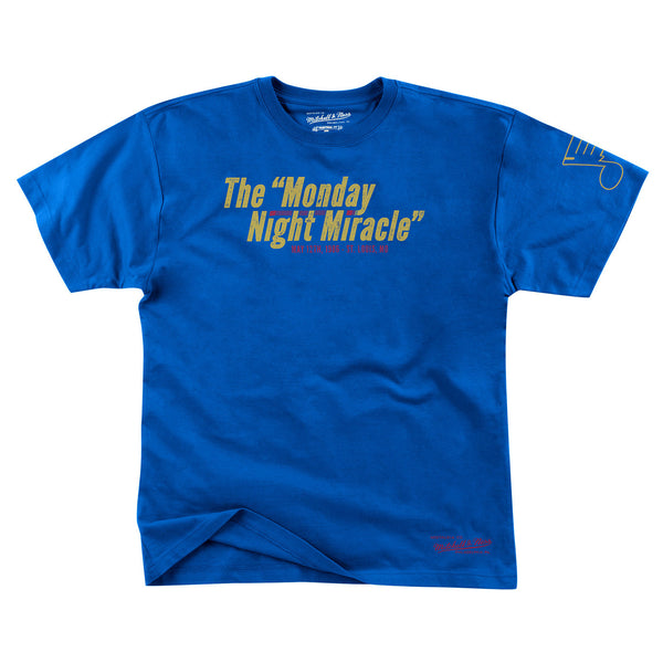 St. Louis Blues Mitchell & Ness Monday Night Miracle Tee - Royal - STL Authentics
