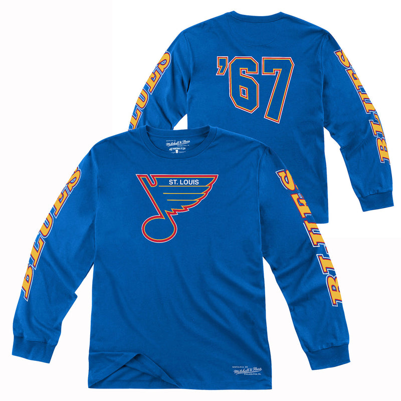St. Louis Blues Mitchell & Ness Retro '67 Long Sleeve Tee - Royal - STL Authentics