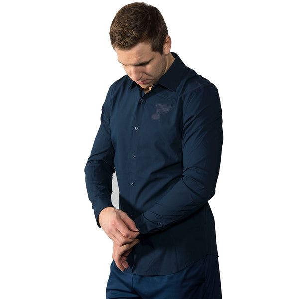 St. Louis Blues Lululemon Down To The Wire Button Up Shirt - Navy - STL Authentics