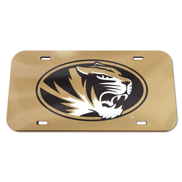 University of Missouri WinCraft Crystal Mirror Novelty License Plate - Gold - STL Authentics