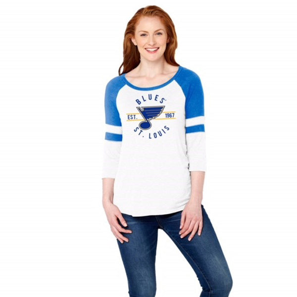 St. Louis Blues Soft As A Grape Ladies Established 1967 3/4 Sleeve Tee - White | STL Authentics