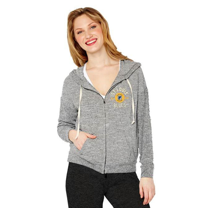 St. Louis Blues Soft As A Grape Ladies Full Zip Hoodie - Heather Gray | STL Authentics