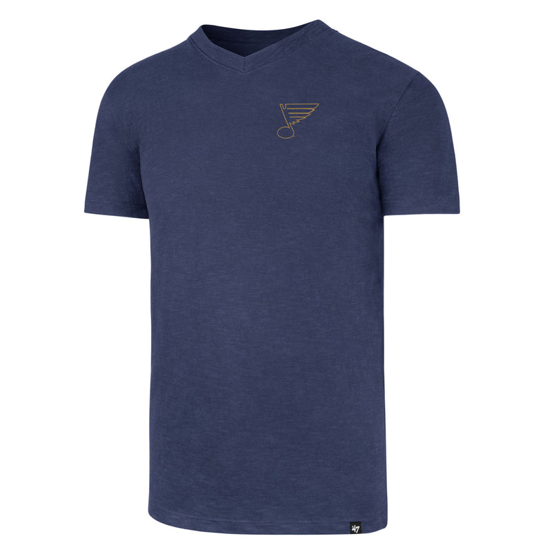 St. Louis Blues 47 Brand Mens V-neck Scrum Tee - Blue | STL Authentics