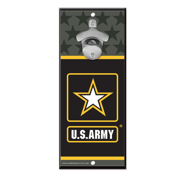 Army WinCraft 5x11 Bottle Opener Wood Sign - STL Authentics