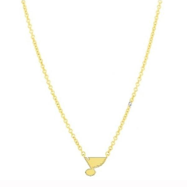 St. Louis Blues Gold Plate Note Necklace - STL Authentics