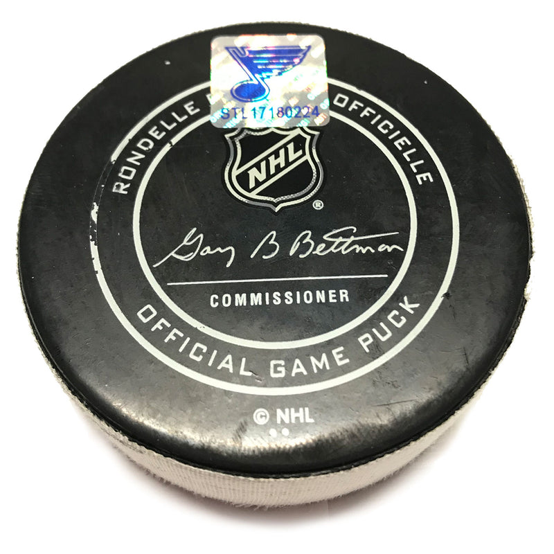 St. Louis Blues Game Scored Puck San Jose Sharks #39 Logan Couture - Feb. 20 2018 - STL Authentics