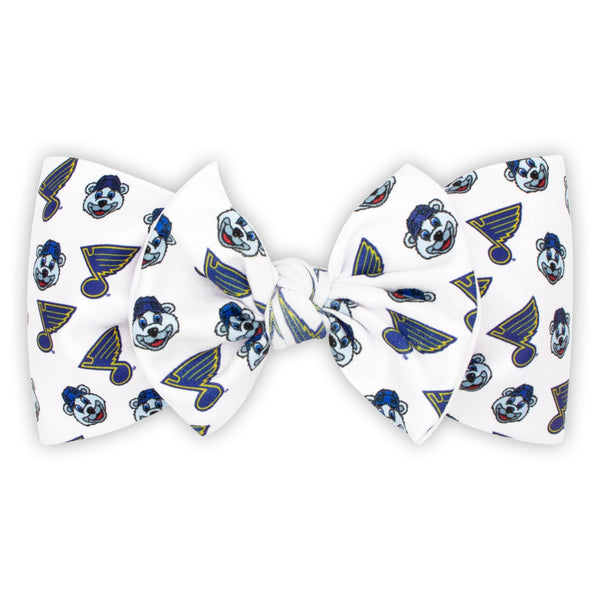 St. Louis Blues Wee Ones Louie & Blue Note Print Nylon Knot Bow - STL Authentics